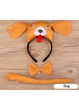 Dog Headband Bow Tail Set Kids Animal Farm Zoo Party Performance Headpiece Fancy Dress Costume Kit Accessory
