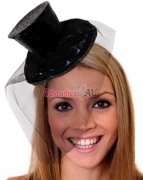 Black Fever Mini Top Hat on Clip Ladies Mini Glitter Top Hat