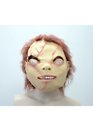 Chucky Doll Head Scary Halloween Party Facial Mask Latex Animals Cosplay Prop  Costume Accessories