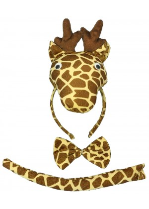 Giraffe Headband Bow Tail Set Kids Animal Farm Zoo Party Performance Headpiece Fancy Dress Costume Kit Accessory