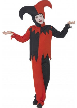 Twisted Jester Costume Halloween Boys Child Kids Harlequin Mask Party