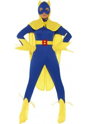 Female Licensed Bananaman Costume Fancy Dress Cartoon Superhero Super Hero Outfit