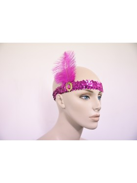 Hot Pink 1920s Headband Feather Vintage Bridal Great Gatsby Flapper Headpiece gangster ladies