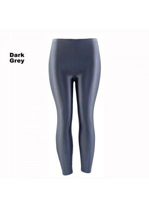 Dark Grey 80s Shiny Neon Costume Leggings Stretch Fluro Metallic Pants Gym Yoga Dance