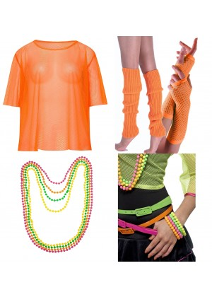 Orange String Vest Mash Top Net Neon Punk Rocker Fishnet Rockstar Dance 80s 1980s Costume  Beaded Necklace Bracelet legwarmers gloves