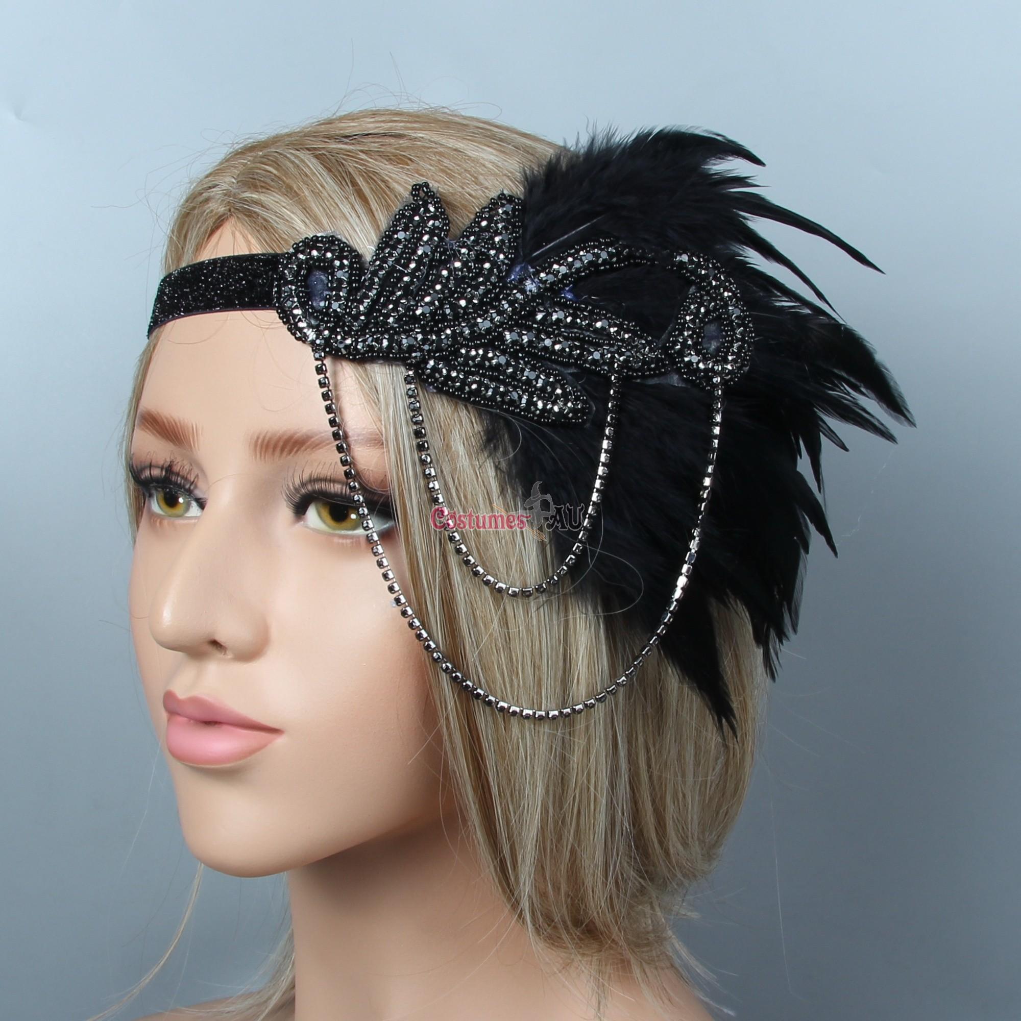 1920s Headband Feather Vintage Bridal Great Gatsby Flapper