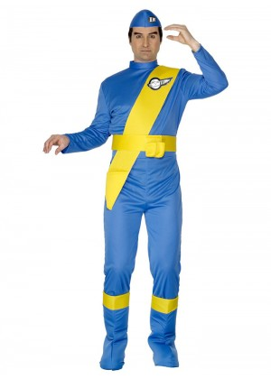 Cartoon Costumes - Adult Mens Licensed Virgil Thunderbirds Cartoon Jumpsuit Onesie Fancy Dress Costume