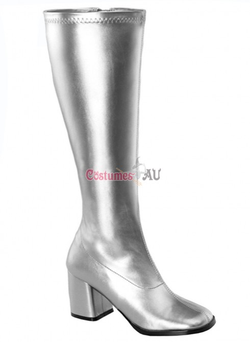 Ladies Go Go White Knee High Wid fit Adult Women Boots Shoes Silver