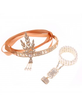 1920s Headband Bracelet Ring Set Vintage Bridal Great Gatsby Flapper Headpiece gatsby gangster ladies