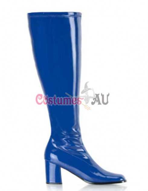 Ladies Go Go White Knee High Wid fit Adult Women Boots Shoes Blue