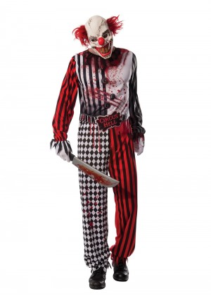 Mens Grinning Evil Clown Circus Costume Halloween Horror Party Scary Suit Mask