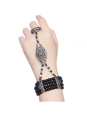 Black 1920s Vintage Bracelet Great Gatsby Flapper Costume Accessories gangster ladies