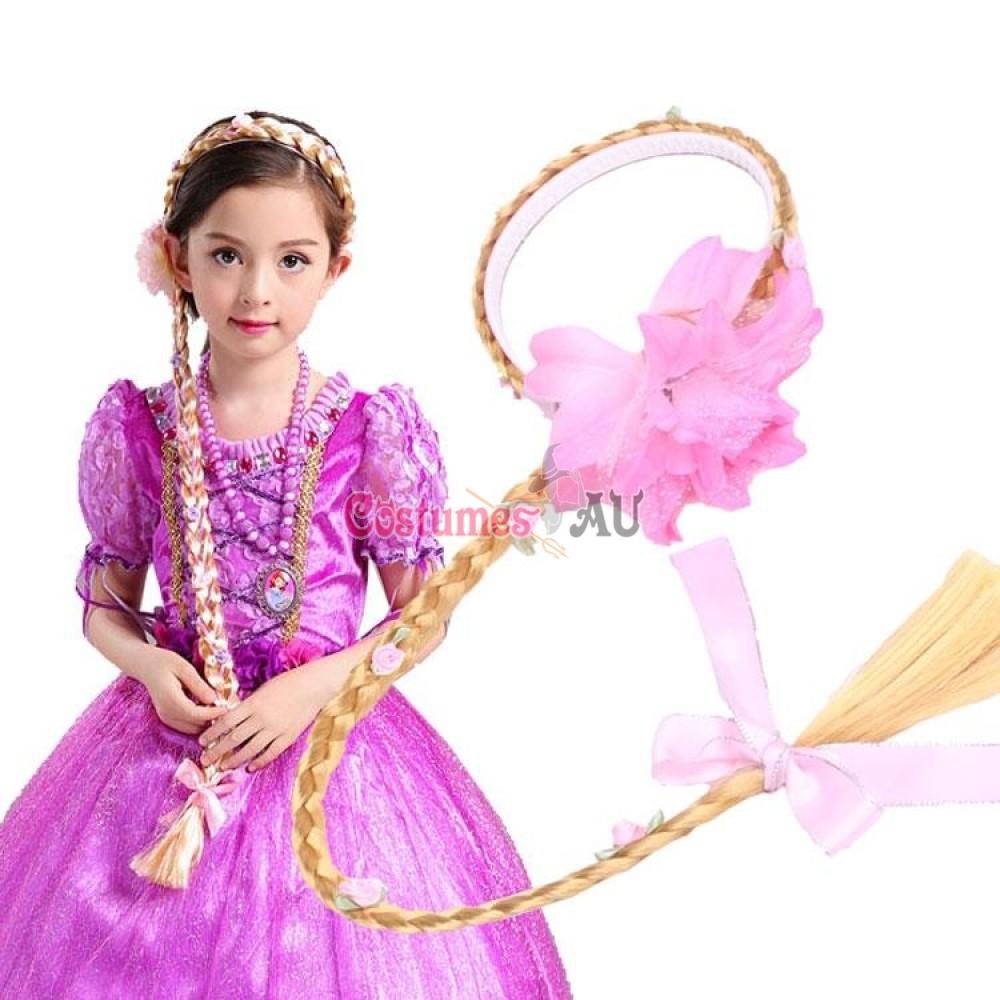 Girls Disney Princess Wig Headband Hair Plait With Pink Flower For