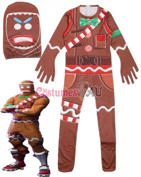 Kid Halloween Fortnite Costume MERRY MARAUDER Gingerbread Man Cosplay Jumpsuit