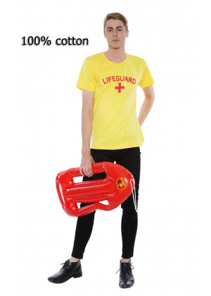 Mens Baywatch Beach Lifeguard Uniform T-shirt Fancy Dress Costume Outfits