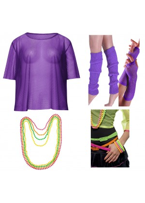 Purple String Vest Mash Top Net Neon Punk Rocker Fishnet Rockstar Dance 80s 1980s Costume  Beaded Necklace Bracelet legwarmers gloves