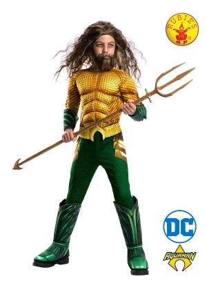 Deluxe Aquaman Kids Fancy Dress DC Comic Film Superhero Adults Costume Outfit