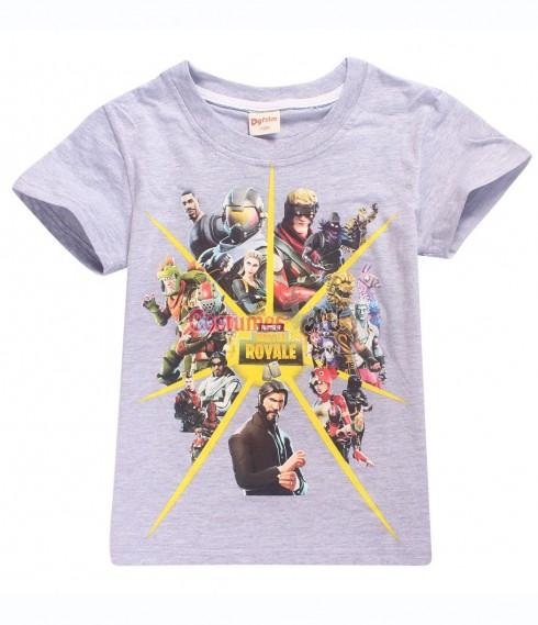 Grey FORTNITE Game Boys Girls T-Shirt