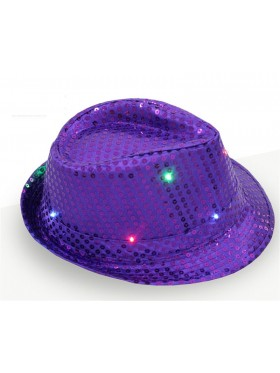 Adults LED Light Up Flashing Sequin Costume Party Night Cap Disco Hip-hop Trilby Fedora Hat