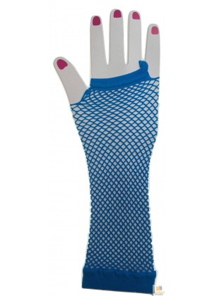 Blue Fishnet Gloves Fingerless Elbow Length 70s 80s Women's Neon Party Dance