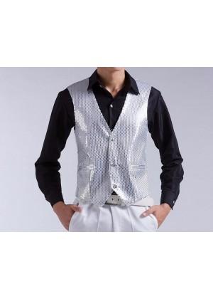 Unisex Sequin Vest Waistcoat 80s Disco Dance Party Show Costume Mens Womens