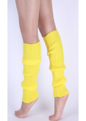 Yellow Licensed Womens Pair of Party Legwarmers Knitted Dance 80s Costume Leg Warmers
