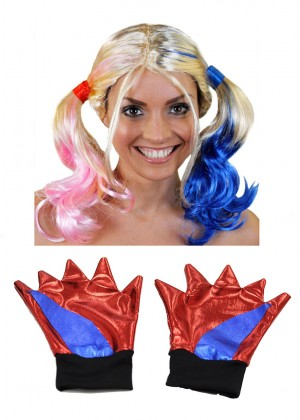 Harley Quinn Wig Gloves Halloween Cosplay Adult Women Batman Suicide Squad Accessory
