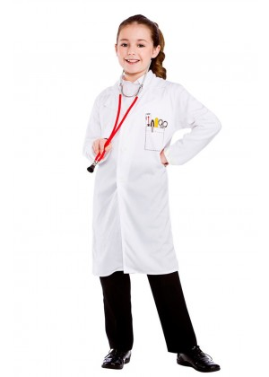 Kids Doctors Scientist White Lab Dentist Surgeon Hospital Coat Fancy Dress Costume
