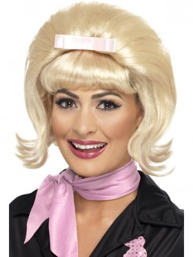 Ladies 50s Flicked Beehive Bob Hairspray Grease Blonde Flip Costume Party Wig