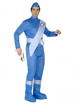 Cartoon Costumes - Adult Mens Licensed Scott Thunderbirds Cartoon Jumpsuit Onesie Fancy Dress Costume