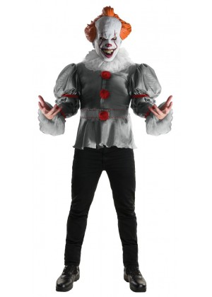 Mens Deluxe Pennywise Evil Clown Circus Costume IT Movie Halloween Horror Party Scary Mask