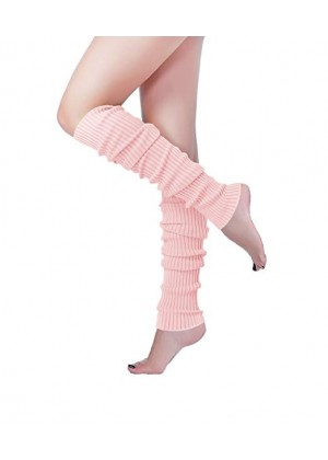 Baby Pink Licensed Womens Pair of Party Legwarmers Knitted Dance 80s Costume Leg Warmers
