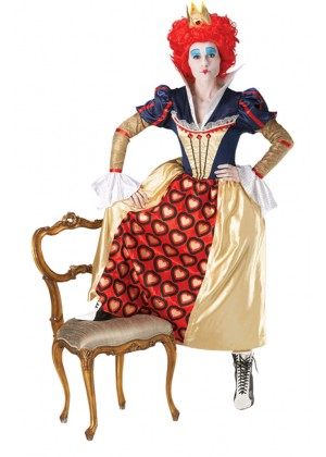 Alice In Wonderland Costumes - Licensed Disney Red Queen Of Hearts Crown Wig Alice in Wonderland Disney Party Fancy Dress Costume Ladies