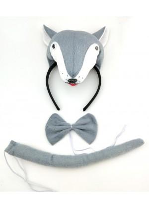 Wolf Headband Bow Tail Set Kids Animal Farm Zoo Party Performance Headpiece Fancy Dress Costume Kit Accessory