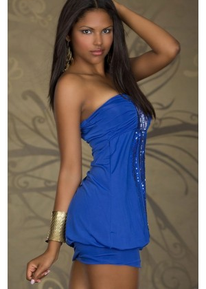 Blue Mini Dress with Sequins