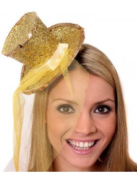 GOLD Fever Mini Top Hat on Clip Ladies Mini Glitter Top Hat