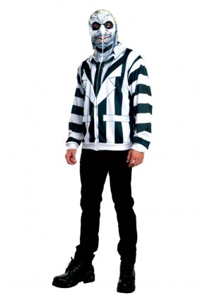 Mens Mr Beetlejuice Zip Up Outfit Fancy Dress Party Dress Halloween Licensed Costume