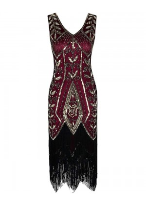 1920s Great Gatsby Charleston Party Costume Sequin Tassel Flapper Dress gangster ladies