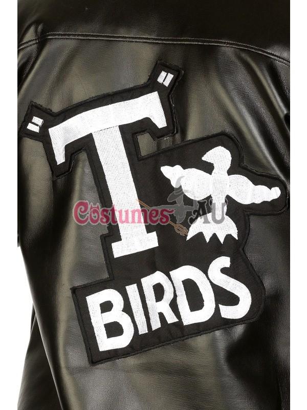 Mens T-Birds Gang Jacket 1950 50s Black Grease Danny T bird Tbird Costume Rock