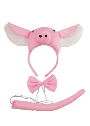 Pink Piglet Animal Costume Headband Bow Tie Tails Set Zoo Party Performance Kids Fancy Dress Accessories