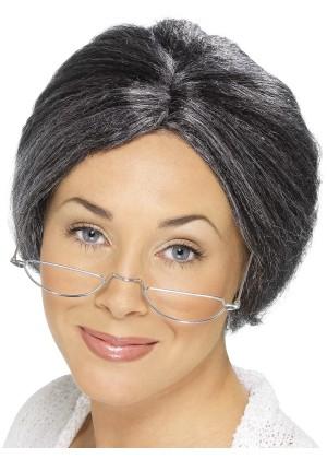 Old Lady Grandma Grey Granny Bun Wig Grandmother Costume Accessory