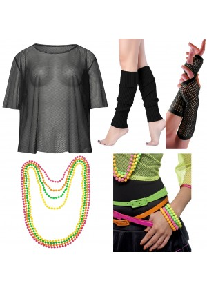 Black String Vest Mash Top Net Neon Punk Rocker Fishnet Rockstar Dance 80s 1980s Costume Beaded Necklace Bracelet Bracelet legwarmers gloves