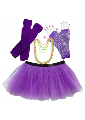 Purple Coobey Ladies 80s Tutu Skirt Fishnet Gloves Leg Warmers Necklace Dancing Costume Accessory Set