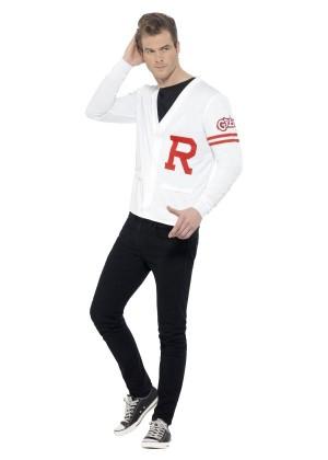Mens Rydell Prep Costume Adults 1950s Grease Fancy Dress School Jock 50s Jumper