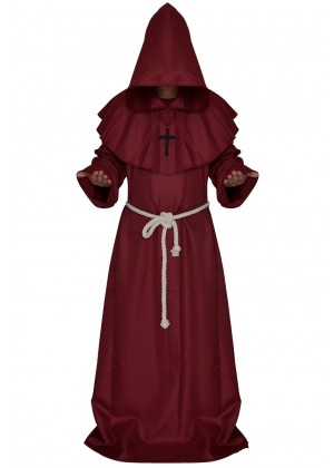 Wine Red Medieval Friar Hooded Robe Monk Cross Necklace Renaissance Costume Cosplay Mans Halloween