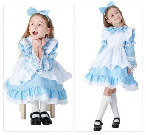 Alice in Wonderland Girls Costume Book Week Fancy Party Dress Kids Child