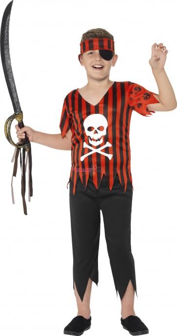 Jolly Roger Pirate Boys Costume Caribbean Buccaneer Kids Fancy Book Week Skull Halloween Party