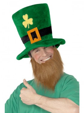 PLUSH LEPRECHAUN HAT WITH BEARD ST PATRICKS DAY NOVELTY ADULT irish green COSTUME ACCESSORY