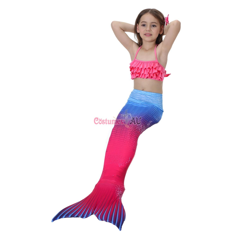 Girl Kids Swimmable Mermaid Tail With Monofin Bikini