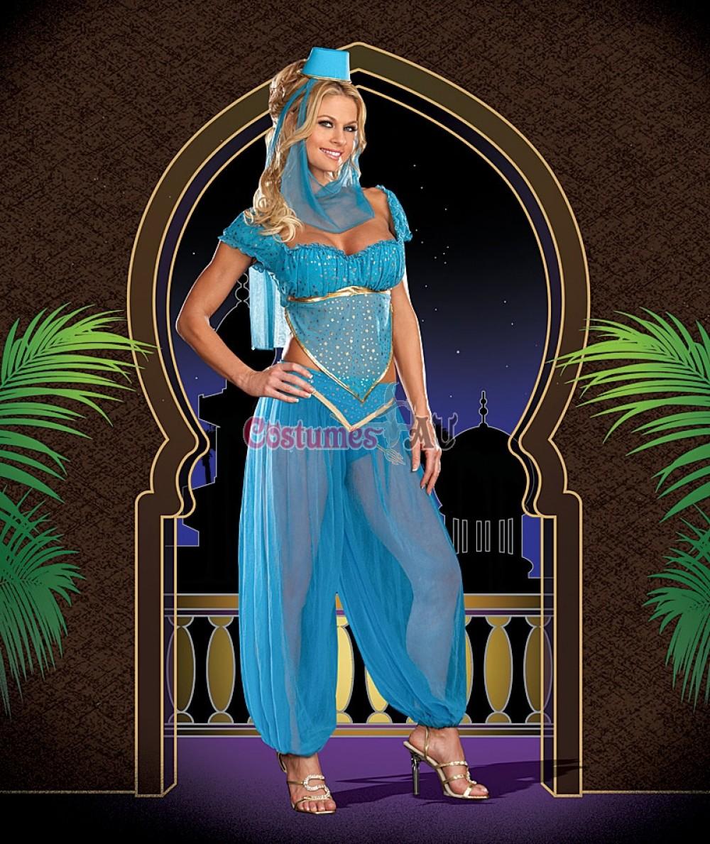 Ladies Arabian Genie Aladdin Blue Fancy Dress Up Hens Party Costume ...
